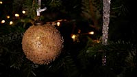 Decorated Christmas Tree With Ball And Icicle Lights Switching On And Off