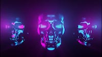 Halloween Synth Wave Style Skull Triple