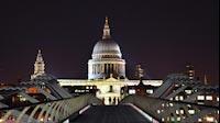 London Night Millennium Bridge St Pauls