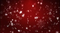 Lots Of Starlike Snowflakes On Red Background
