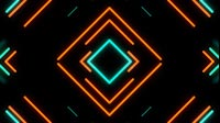 Retro Neon Cyan Orange Square