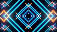 VJ Tunnel Of Geometric Shapes Glowing In Blue And Orange