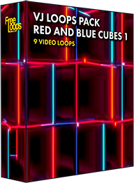 VJ Loops Pack Red And Blue Cubes 1
